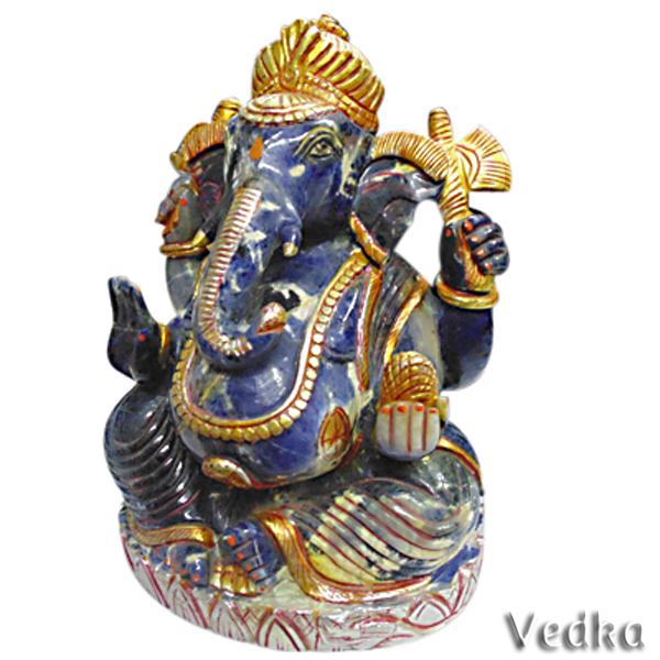 indian god Rich Blue Sodalite Gemstone Good Luck HIndu God Ganesh statue crystal carving