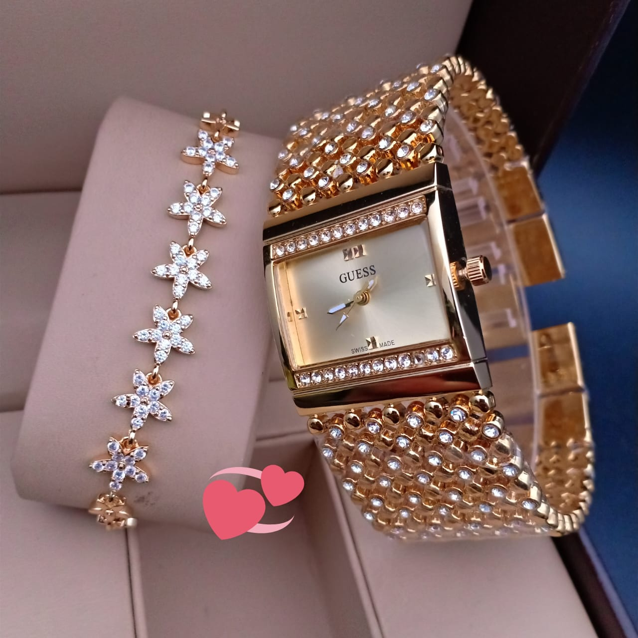Square Dial Wrist Watch And Star Shape Bracelet