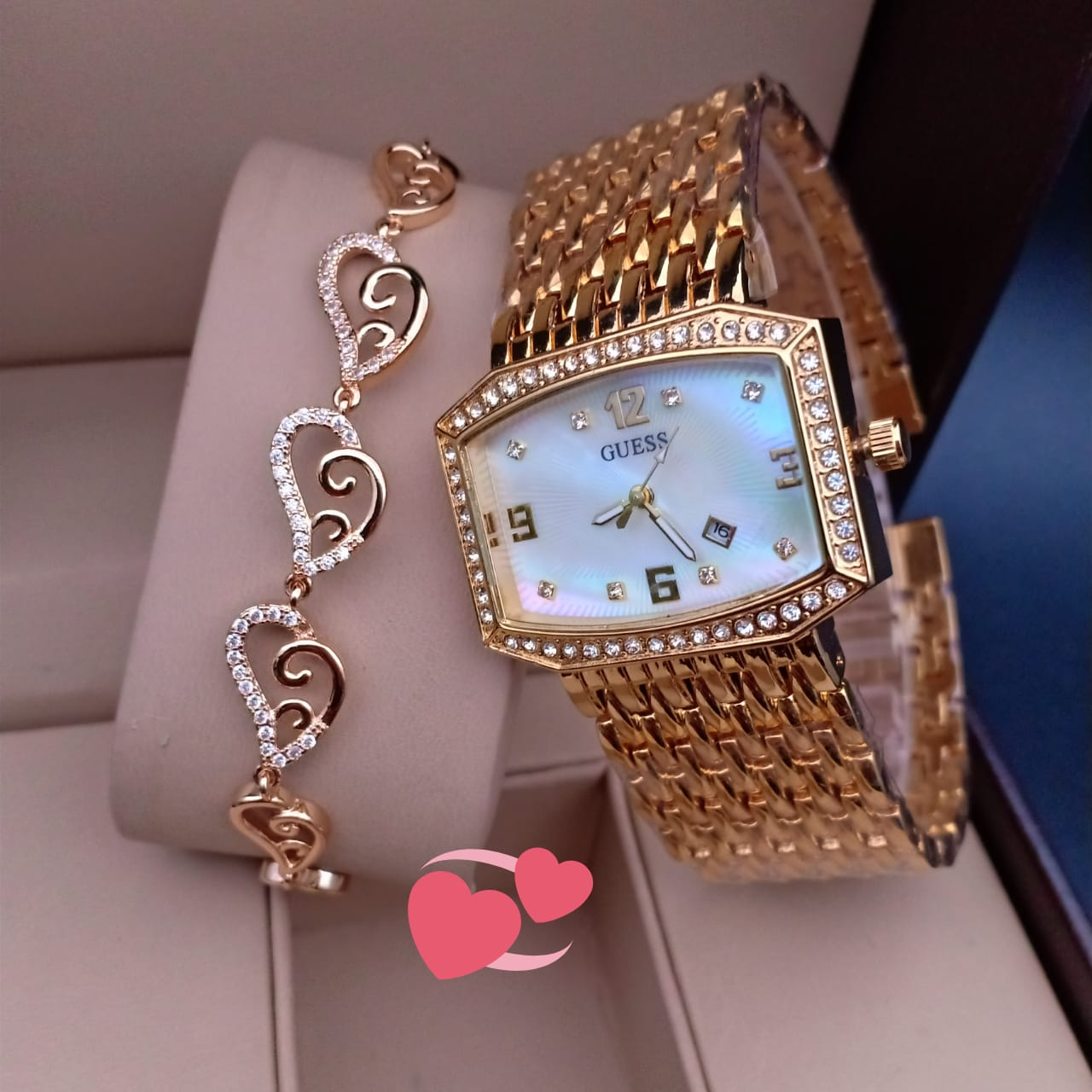 Square Dial Wrist Watch and Heart Shaped Bracelet