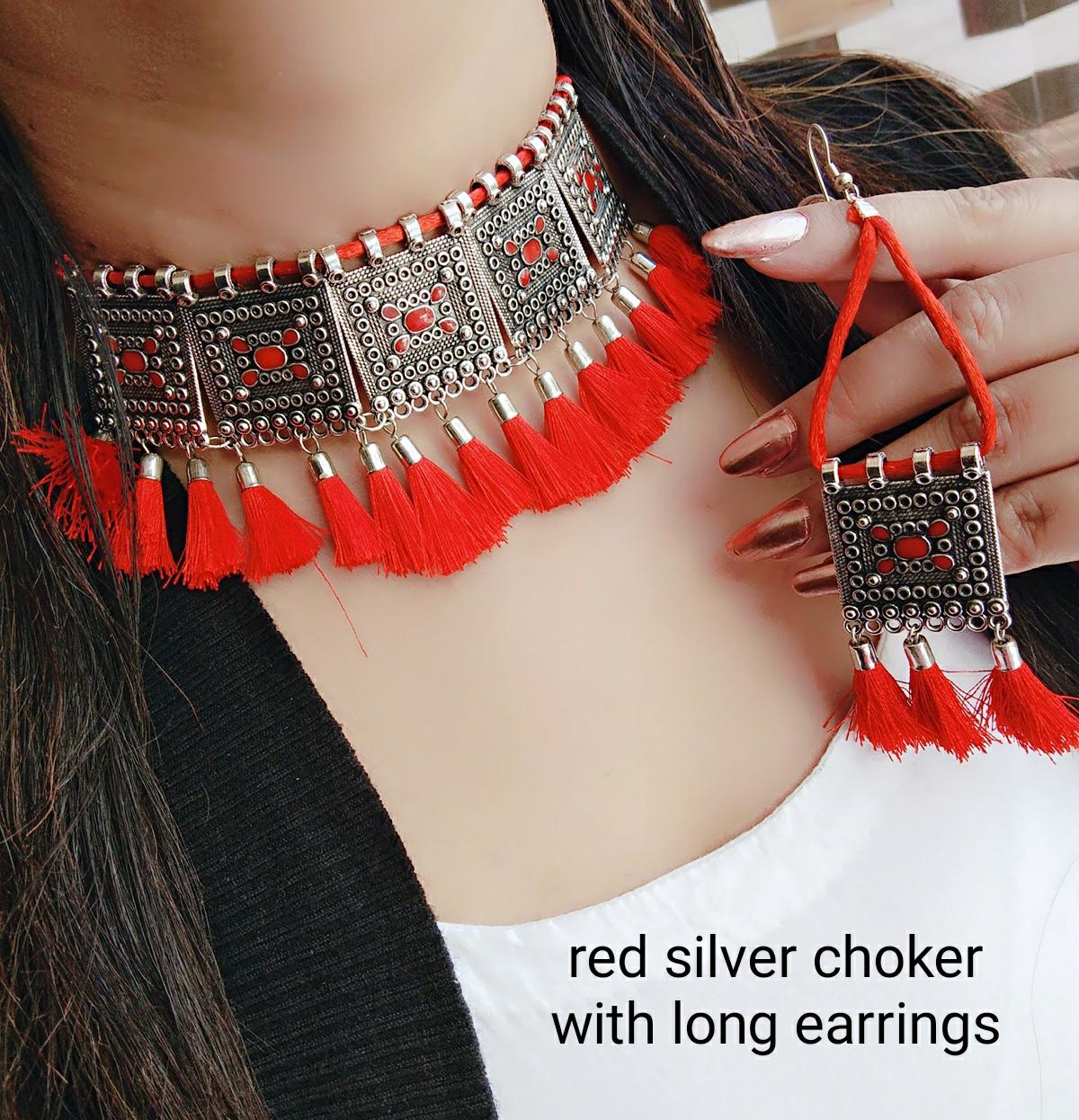 Red Silver Choker With Long Earning For Women