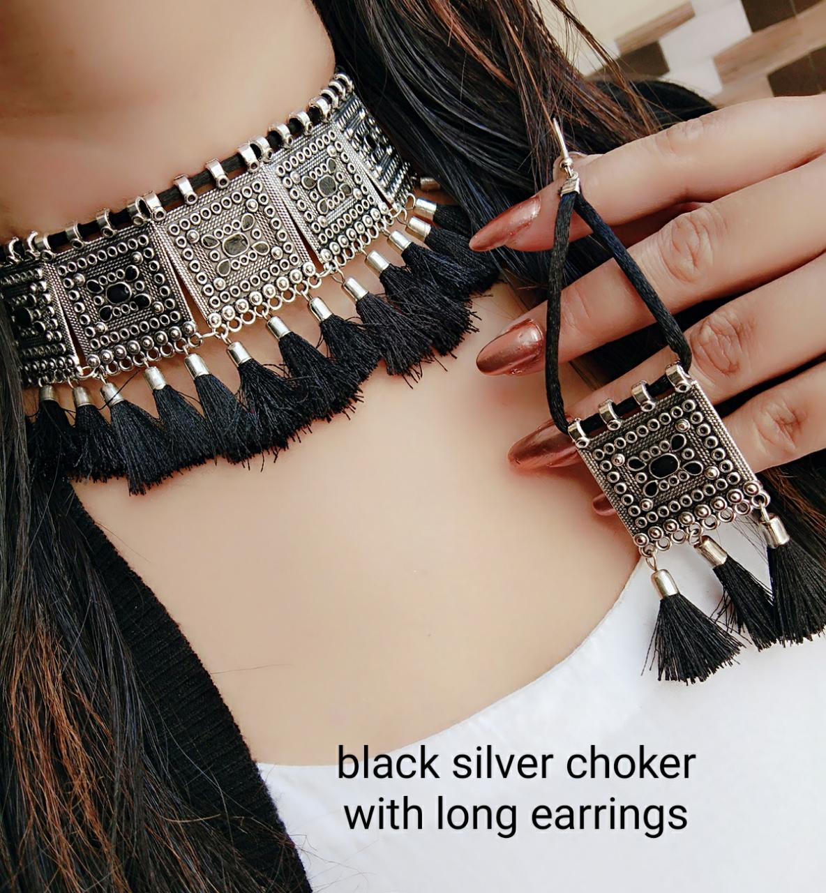 Black Silver Choker With Long Earnings For Women