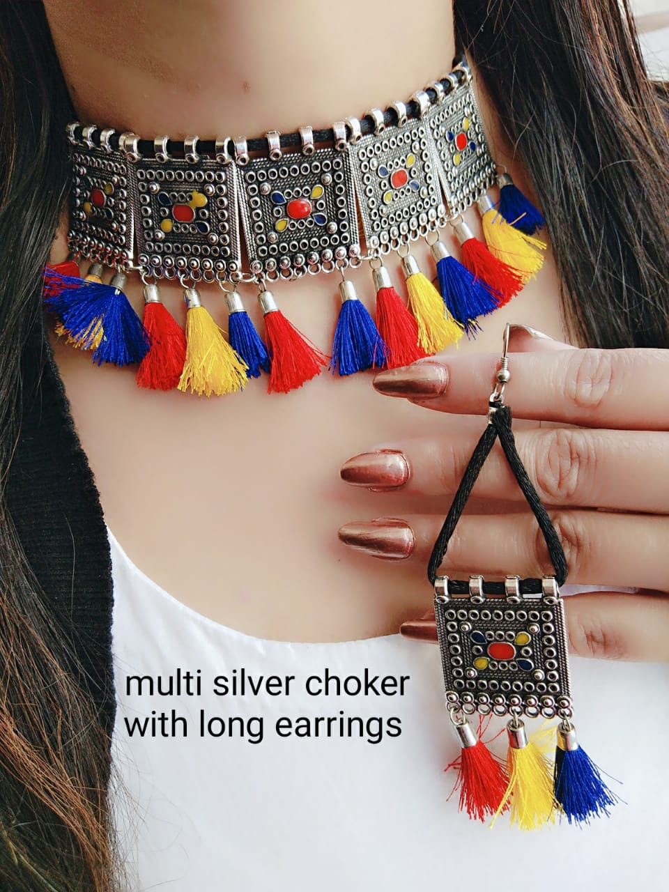 Multi Silver Choker With Long Earning For Women