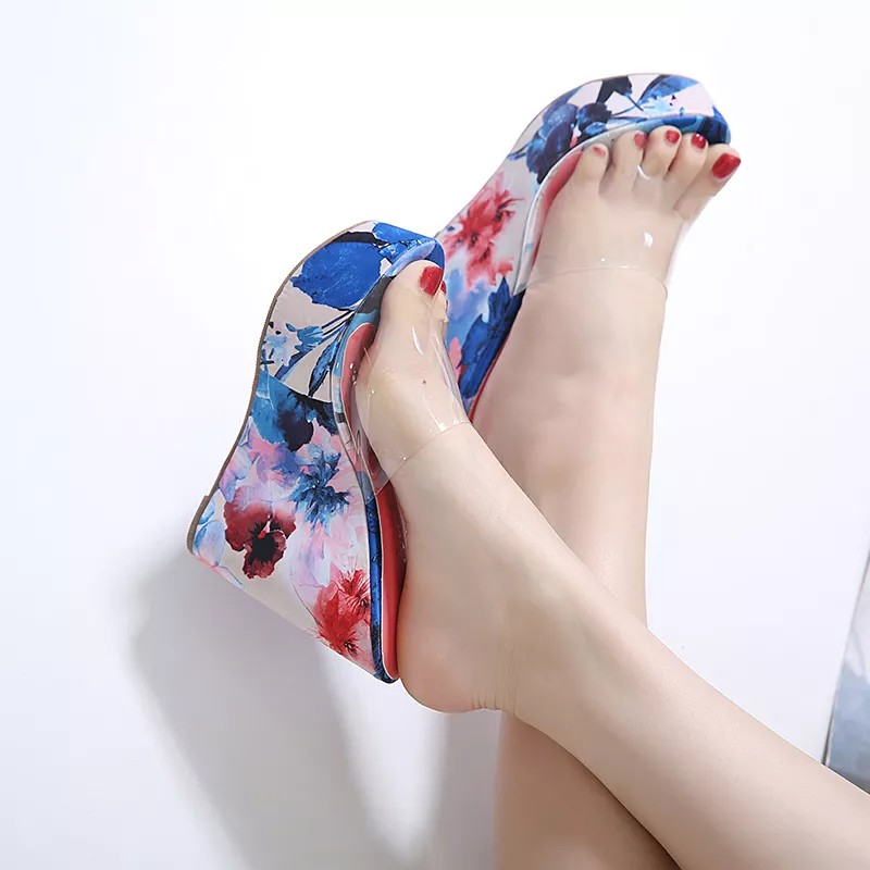 Ladies High Heel With Flora Print Shoes