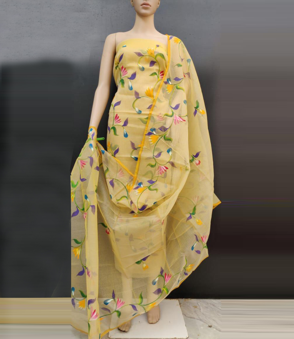 Kota Doriya Brush Print With Die Suits With Dupatta Light Yellow Color