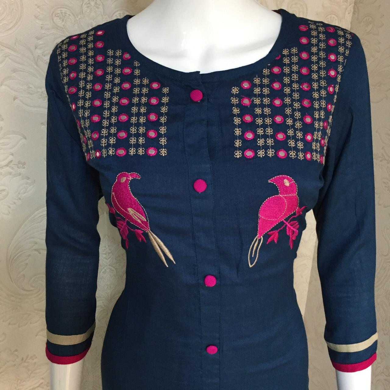 Reyon Blue Color Embroidery With Work Readymade Kurti