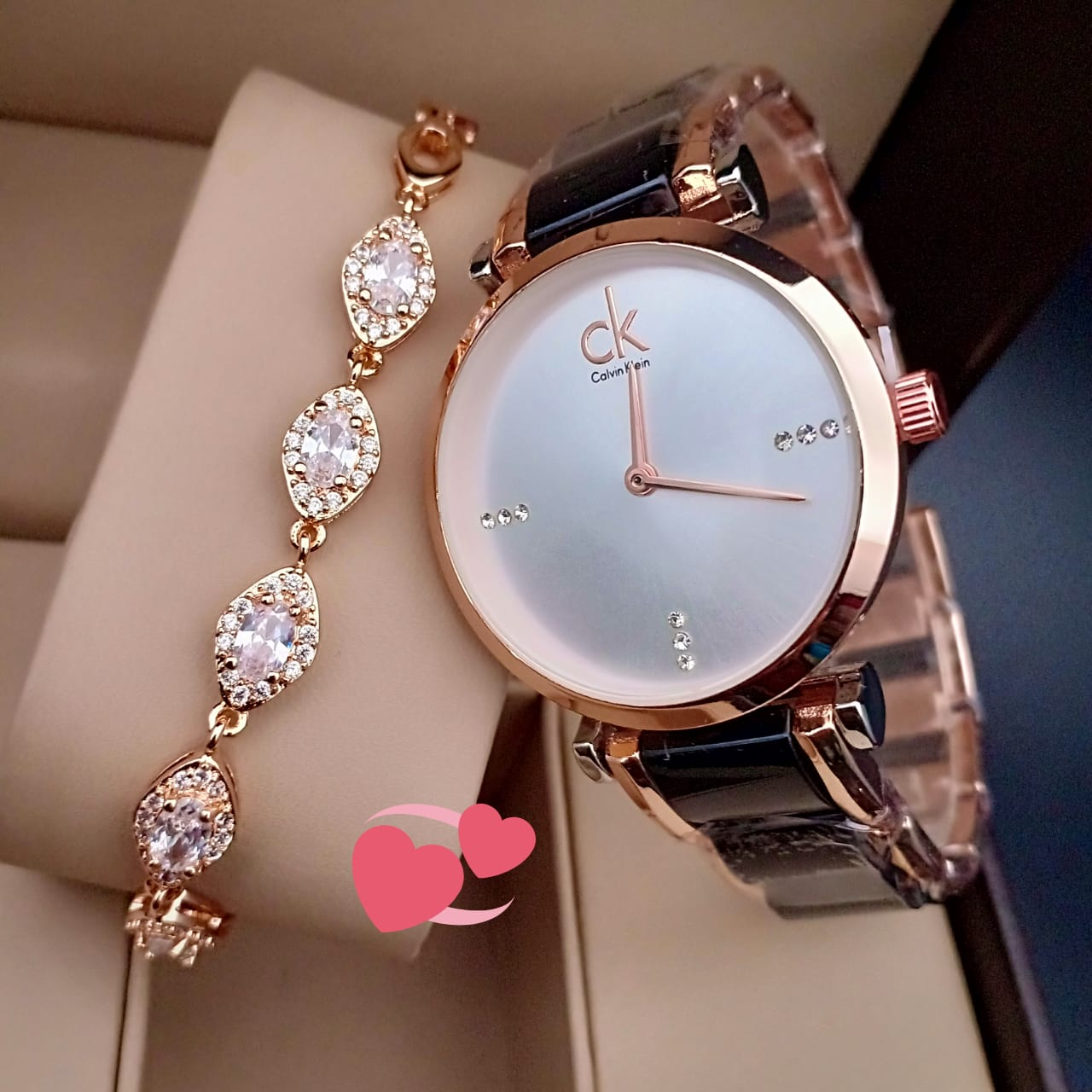 CK Ladies Round Dial Watch With Leaf Shapes Bracelet