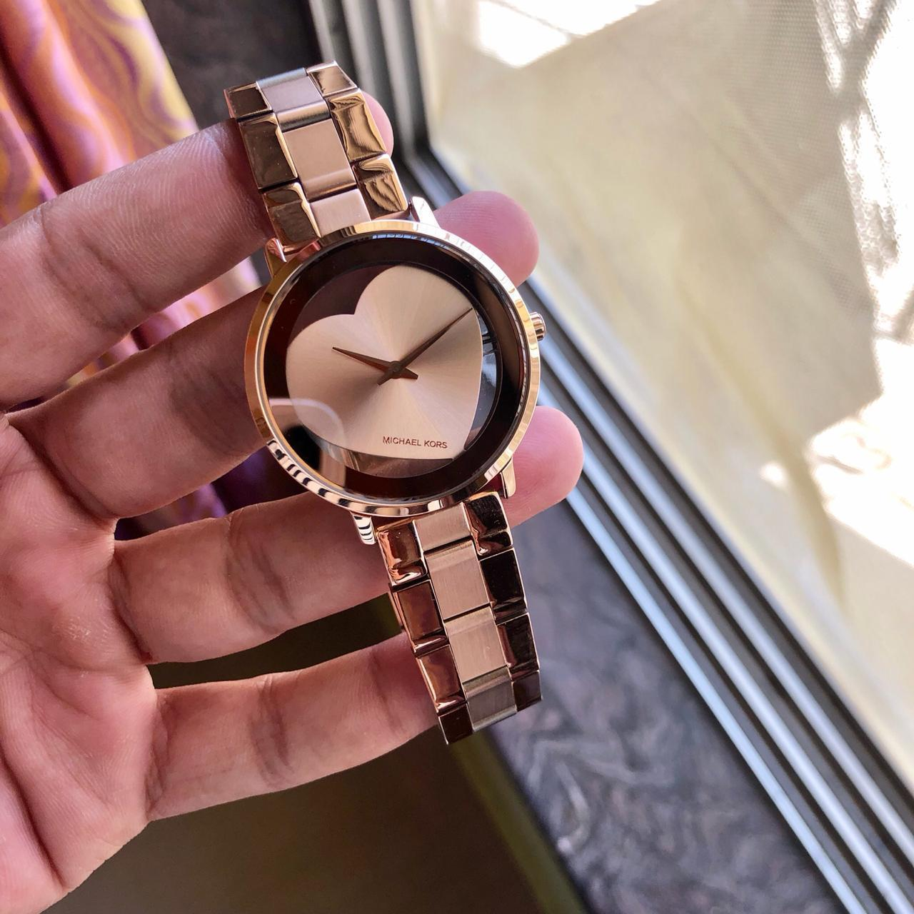 Michael Kors Heart Gold Tone Round Dial Watch for Men