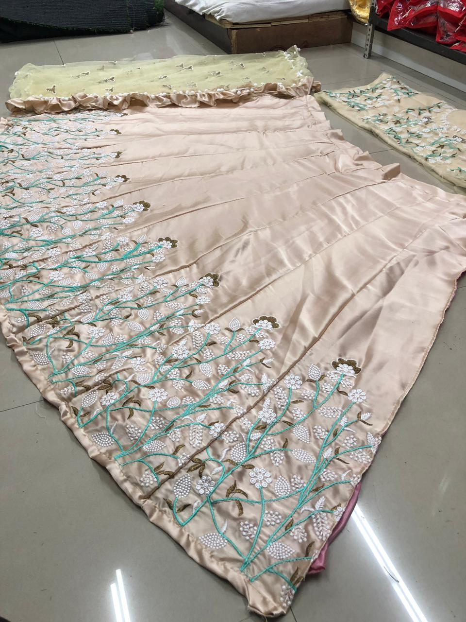 Heavy Japan Silk Embroidery Work Lengha With Net Embroidery Work Dupatta