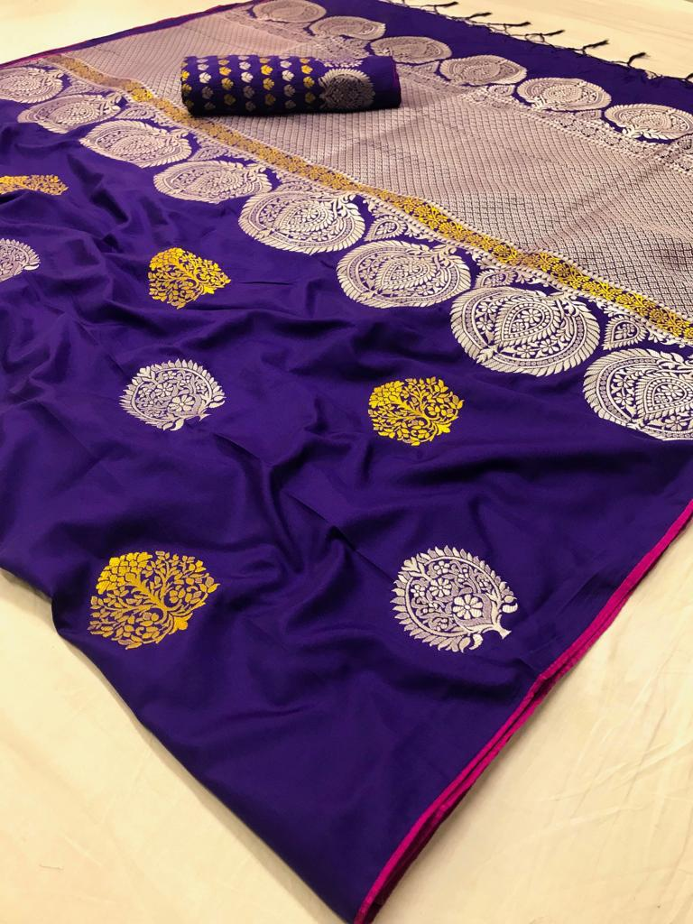 Purple Soft Silk Sarees With Running Blouse