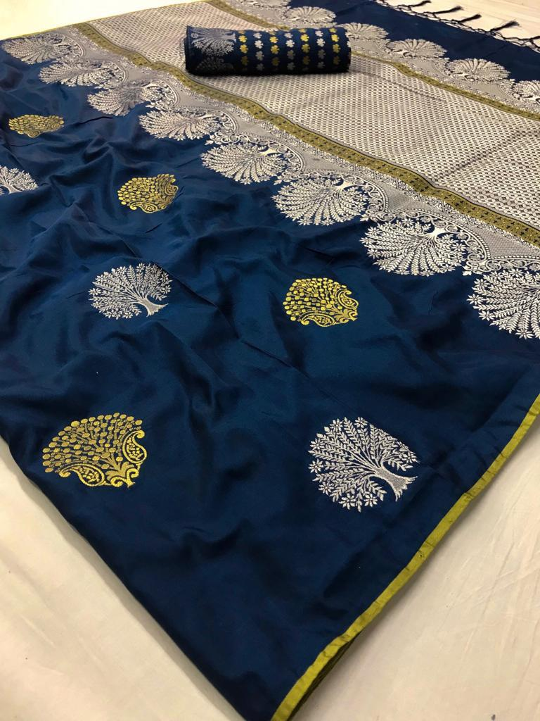 Blue Color Soft Silk Sarees With Running Blouse