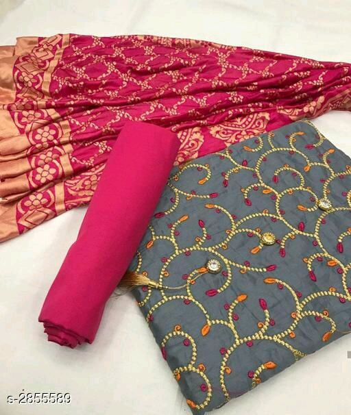 Aarohi Poly Cotton with Embroidery Work Gray Color Dress Material with Rani Pink Color Dupatta