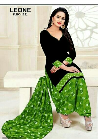 Trendy Synthetic Crepe Black Color Dress Material With Green Color Printed Bottom and Dupatta