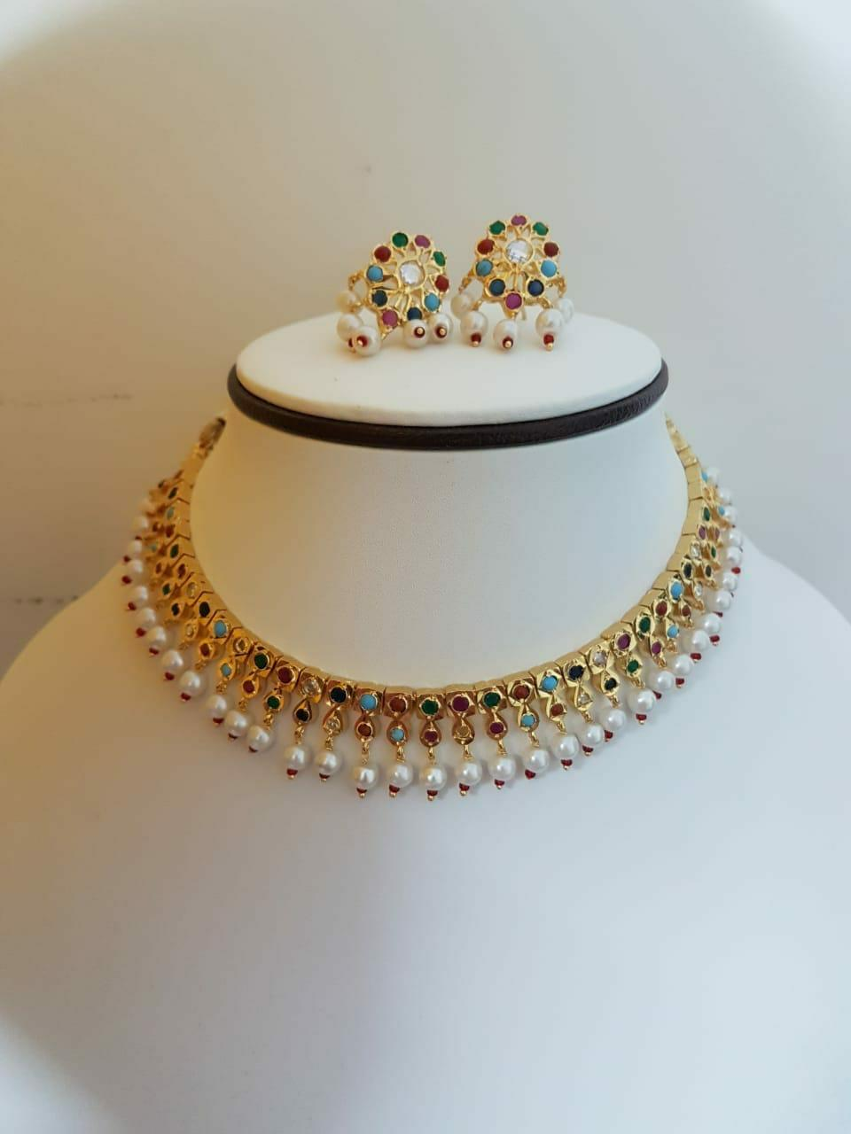Hyderabadi Designer Gold Plated Jewellery Necklace and Earrings
