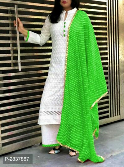 Cotton Chikankari Semi-Stitched Dress Material White Color With Parrot Green Dupatta