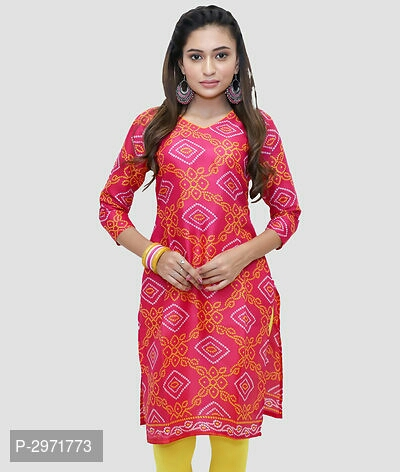 Poly Cotton Rani Pink Color Digital Printed Full Stitched Elegant Kurti