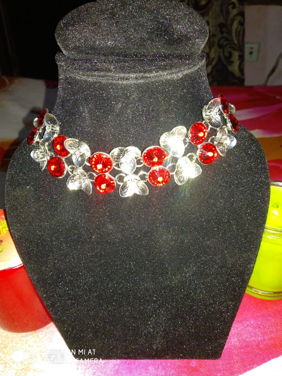 Metal Base Designer Choker Red and White Stones Jewellery
