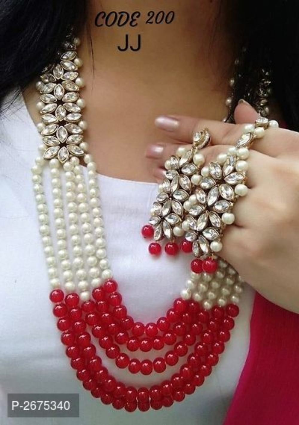 Trendy Kundan and Beads Necklace With Earrings Set