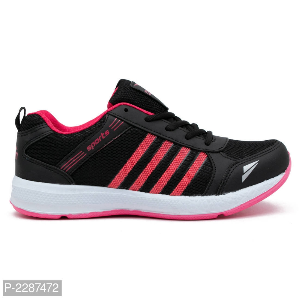Black Pink Running Sports Shoes For Women