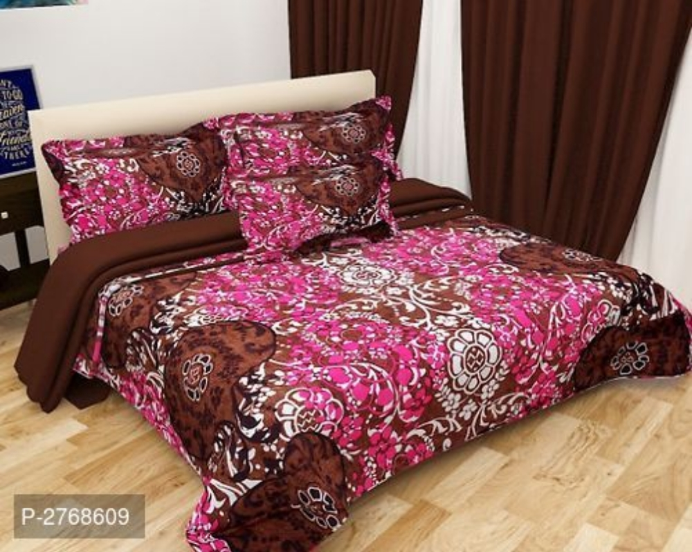 Polycotton 3D Printed Double Bedsheet With 2 Pillowcovers