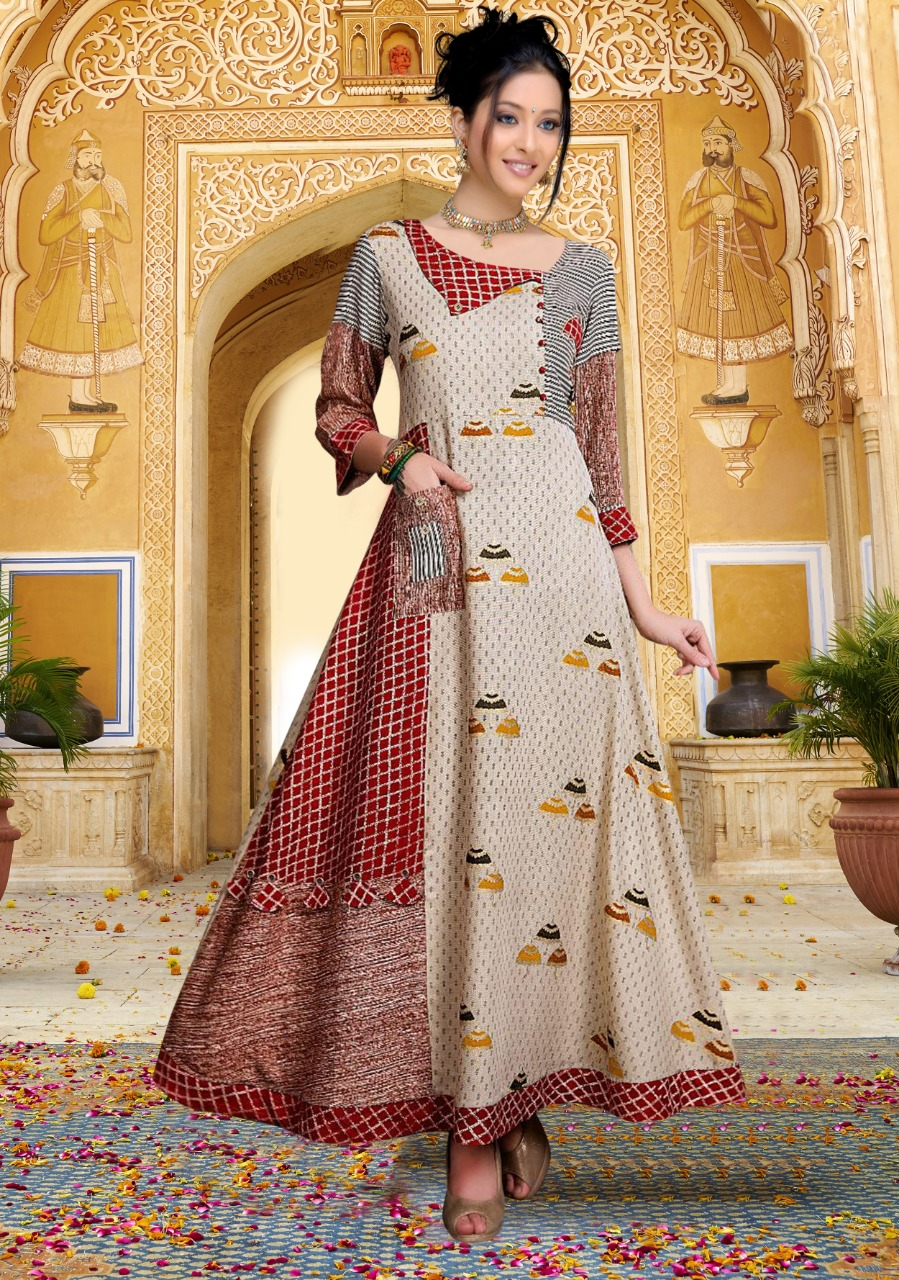 Roop Mati Heavy Crepe Digital Printed Long Gown Maroon and Cream Color
