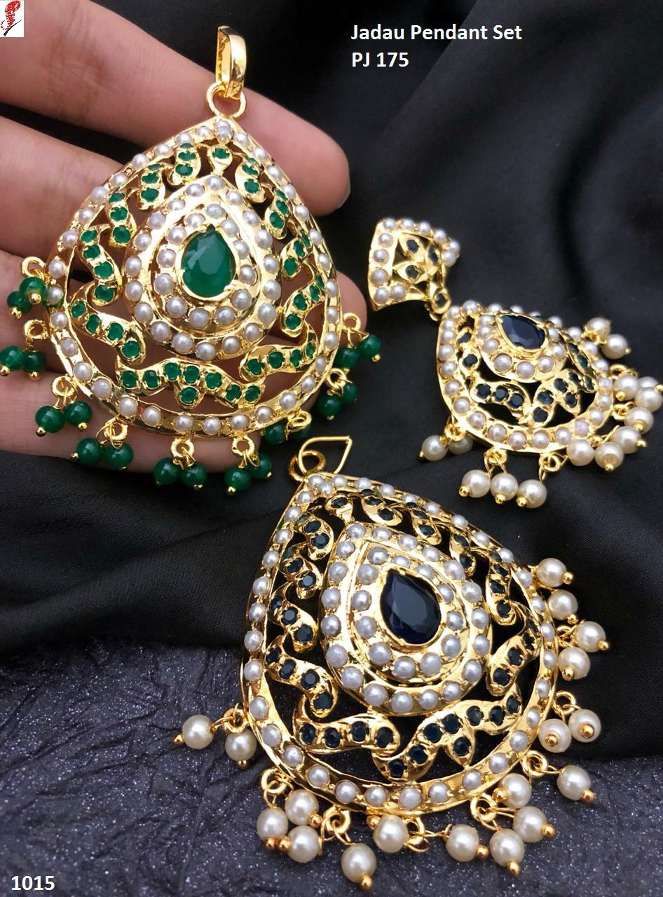 Designer Fashion Hyderabadi Pendant set work of stone and pearls