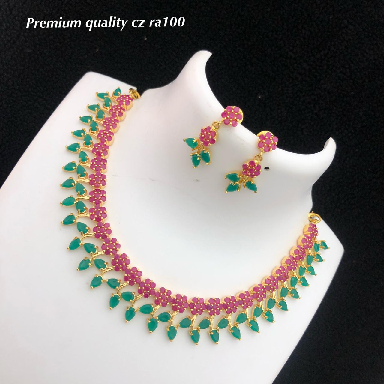 Designer Fashion Jewellery With Pair Of Earrings Stones Work Some Sets of Pearls Work
