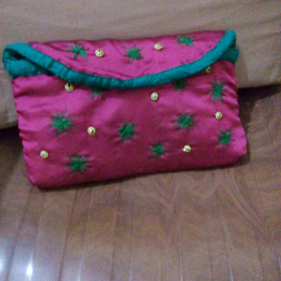 Silk Purse with Handcrafted Embroidery, Velcro and Zip Closure