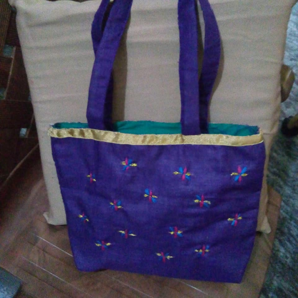 Dark Purple Cotton Fabric bag with colorful handcrafted embroidery and gotta patti