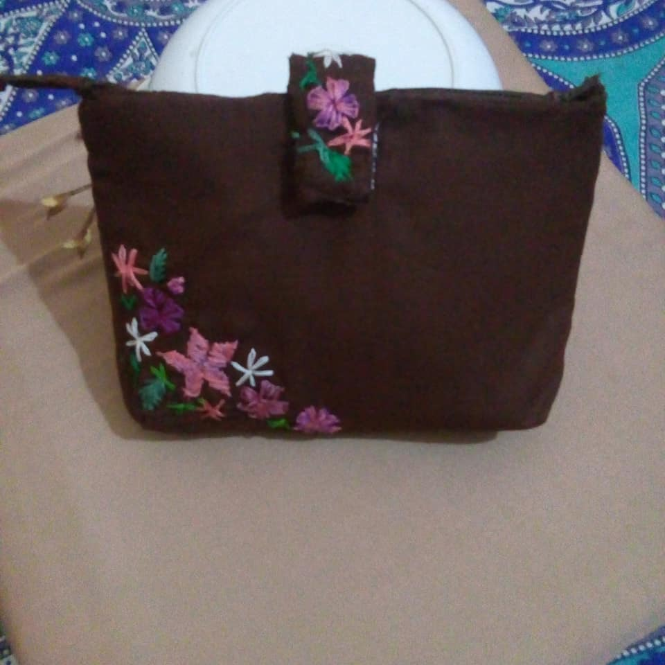 Brown Cotton Clutch Purse With Handcrafted Embroidery , Zip and Tab Closure