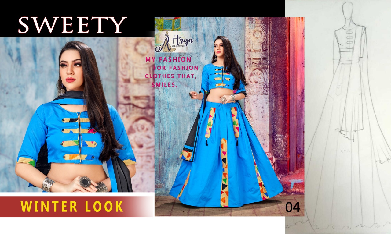 Sweety Taffeta SkyBlue Color Langha Choli With Blue Color Chanderi Cotton Dupatta