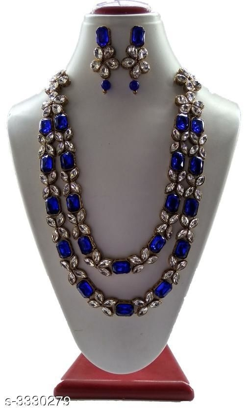 Alloy Beads Work Necklace With Earrings