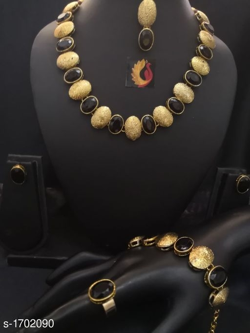 Fashionable Alloy Stone Work Jewellery Set