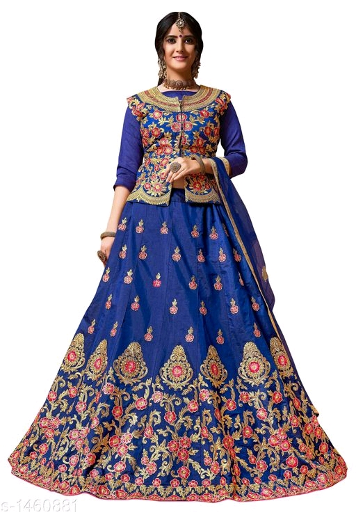 Silk Embroidery Work in Lehenga and Blouse with Dupatta