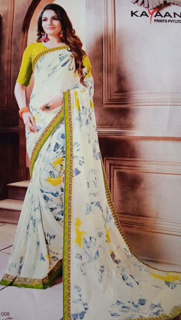 Fancy Saree with contrast blouse
