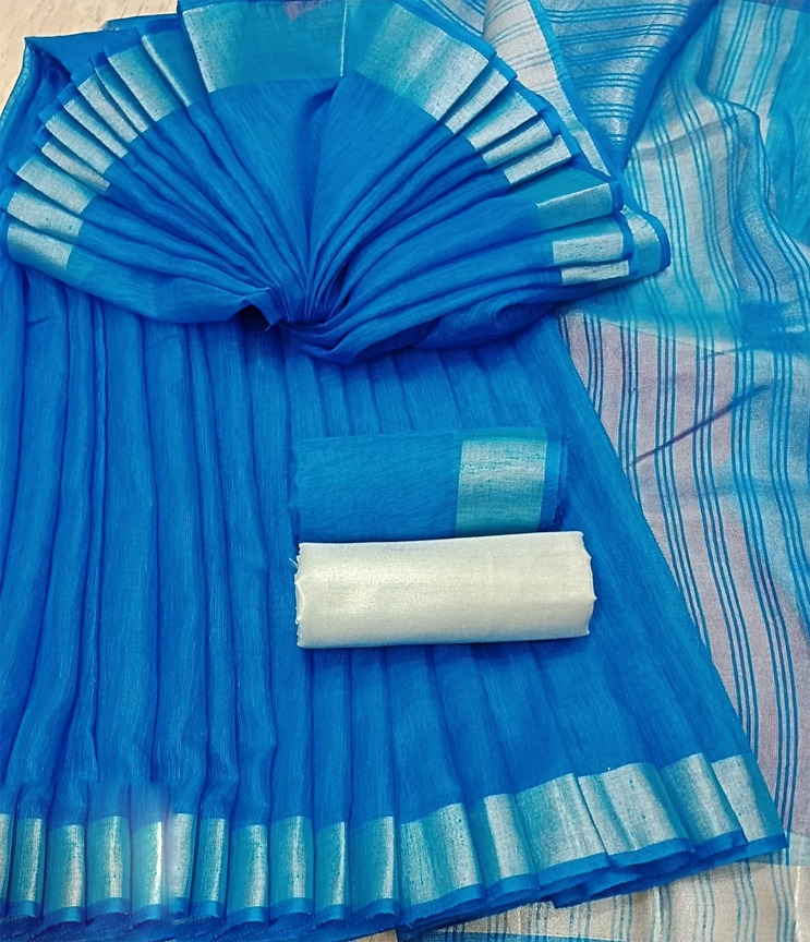 Pure linen Saree thick blue Saree with two blouses