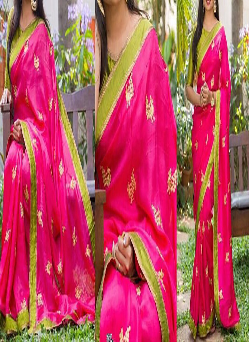 Zoya Silk Embroidery Work Sarees With Benglory Silk Plain Blouse