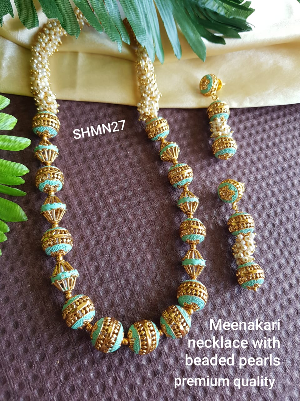 Meenakari Necklace with Beaded Pearls and Earrings