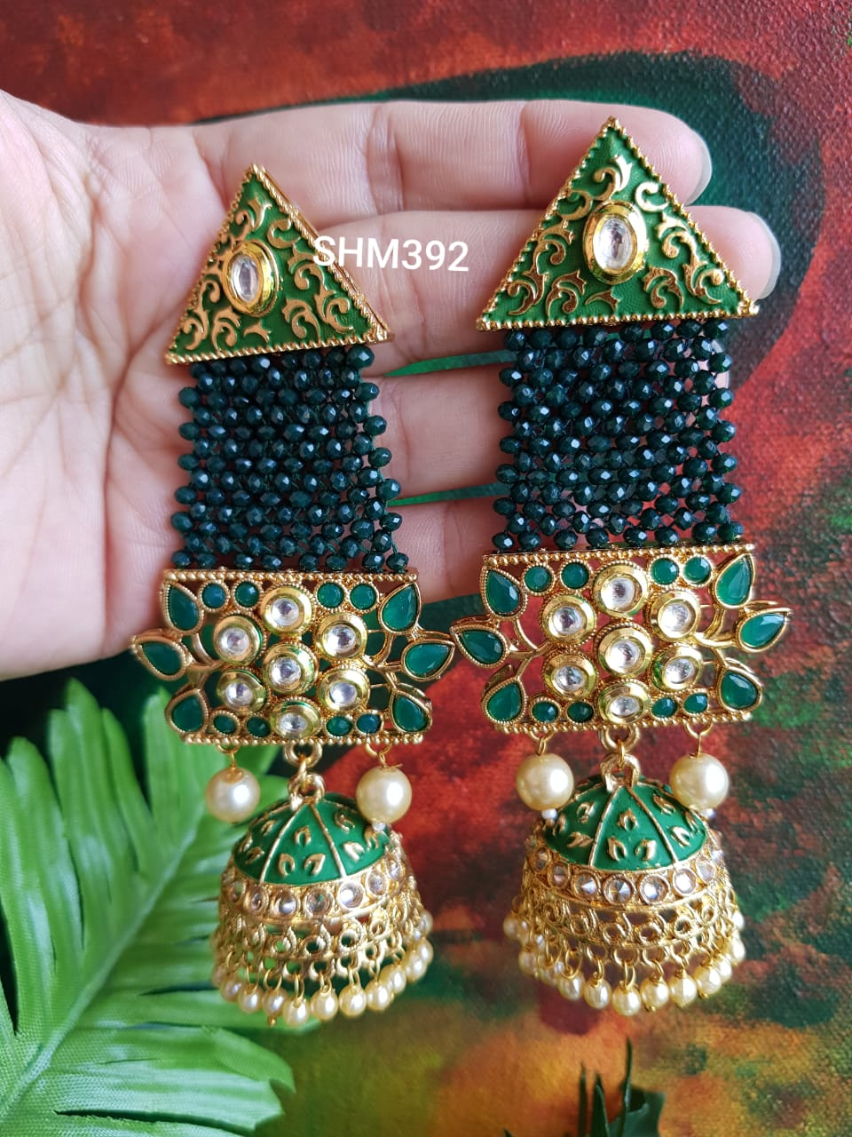 Kundan Meenakari Statement Jumkha with Crystals and Pearls SHM392