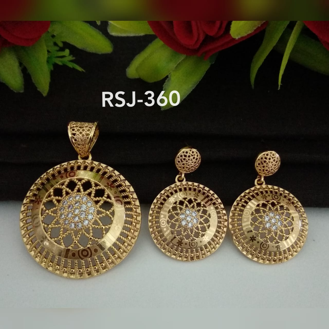 RoseGold Pendal with Earrings RSJ360