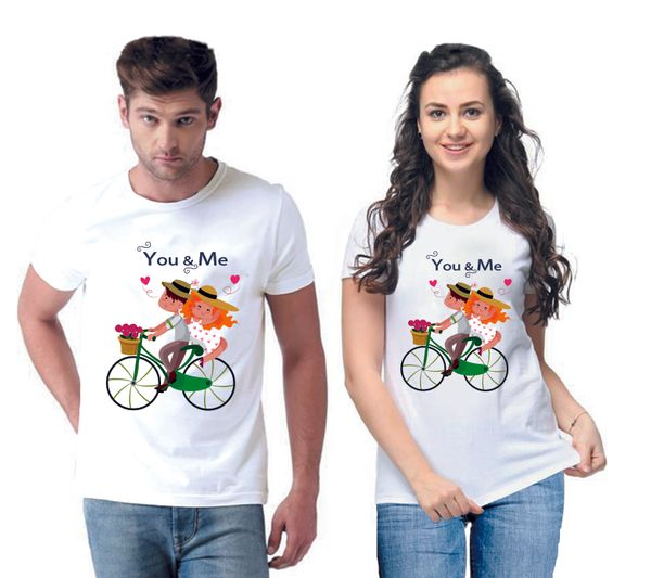 You and Me Printed Men And Women Round Neck T-Shirt (Pack Of 2)