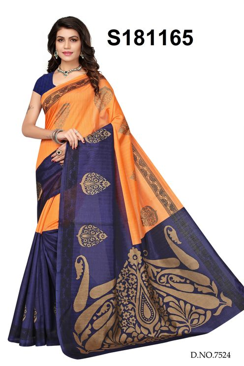 Bhagalpuri Silk Saree With Blouse Piece (Orange and Dark Blue Color)