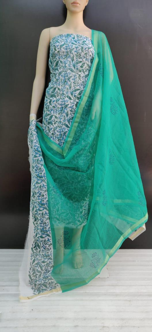 Kota Doriya Dye Print Suits Green & White Color