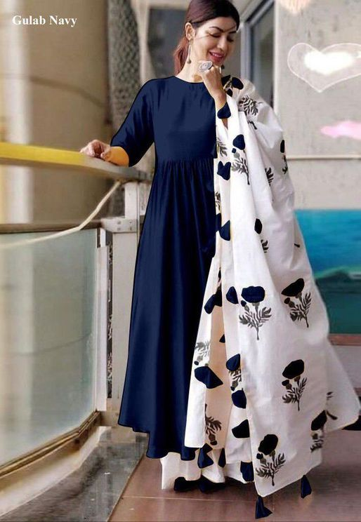 Solid Rayon Navy Blue Kurti White Palazzo With Digital Printed Dupatta