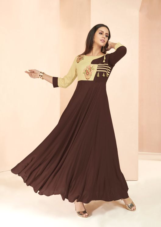 Rayon Embroiders Fancy Pattern Kurti Round Neck Brown Color