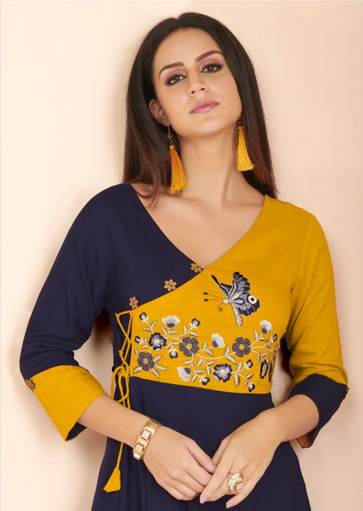 Rayo- Embroiders-Fancy-Pattern-V-Neck-Kurti-Blue-Yellow-Color2.jpg
