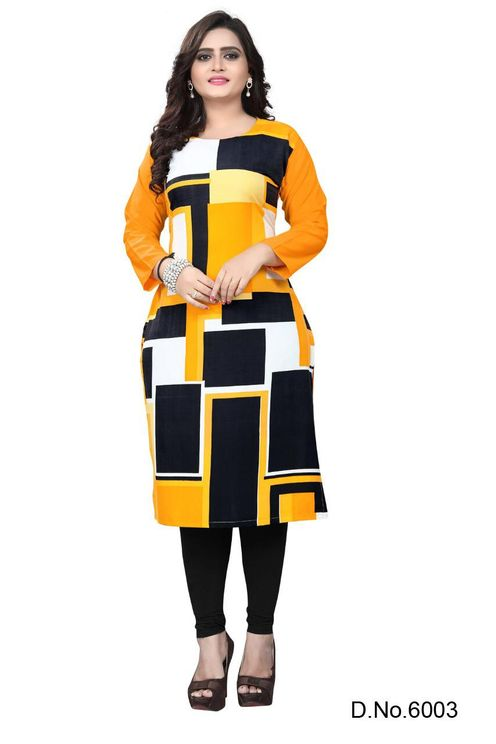 Crepe Fabric Digital Printed Round Neck Casual Kurti (Black-Yellow-White Color Combination)