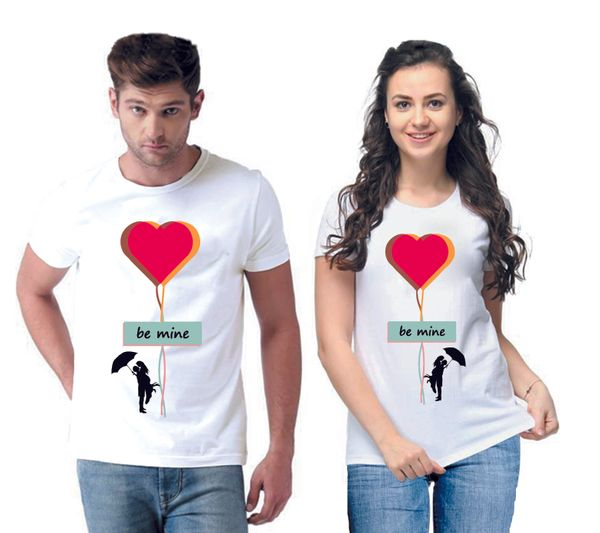 Be Mine Printed Men And Women Round Neck T-Shirt (Pack Of 2)