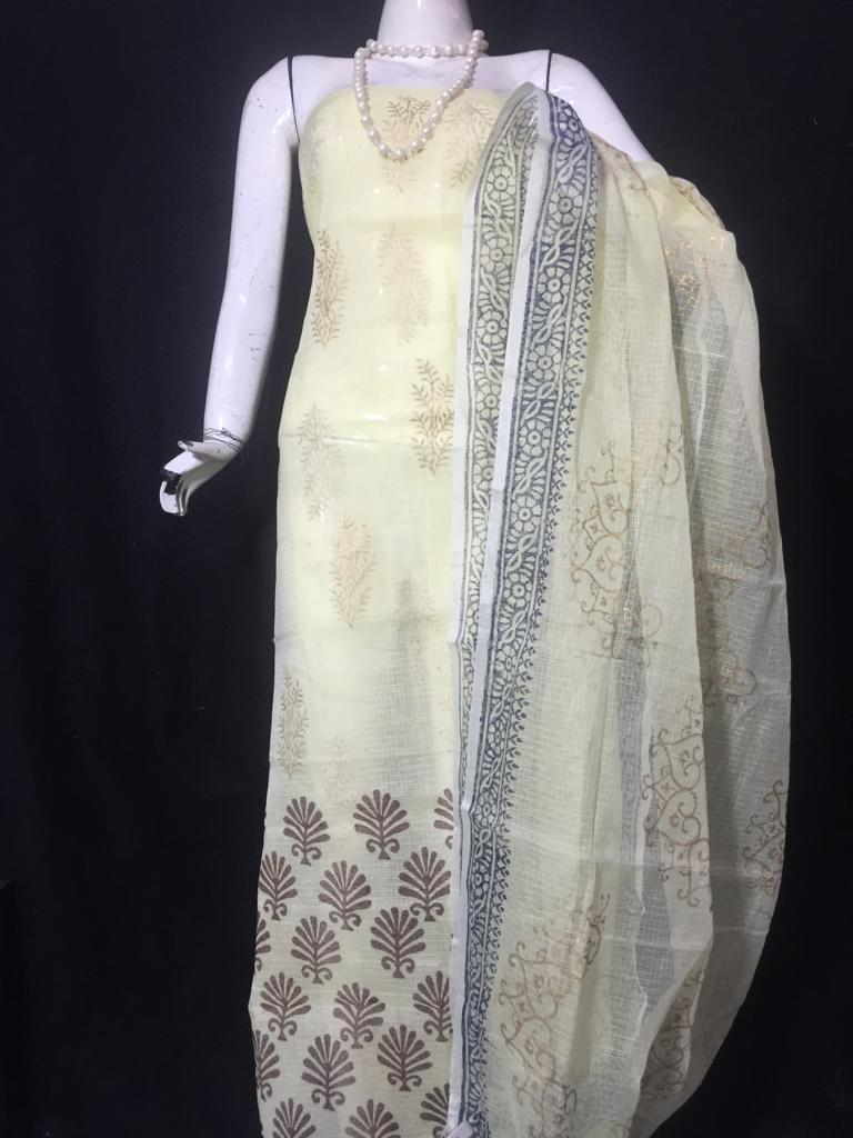 Kota Doriya Golden Off White Color Suits and  Off White Color Dupatta